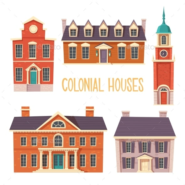 Urban Retro Colonial Style Building Cartoon - Man-made Objects Objects