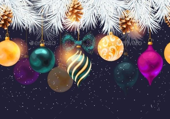 Christmas Seamless Border with Pine and Toys - Christmas Seasons/Holidays
