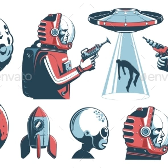 Alien UFO Vintage Set with Astronaut and Martian