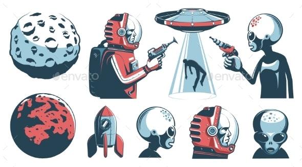 Alien UFO Vintage Set with Astronaut and Martian - Miscellaneous Vectors