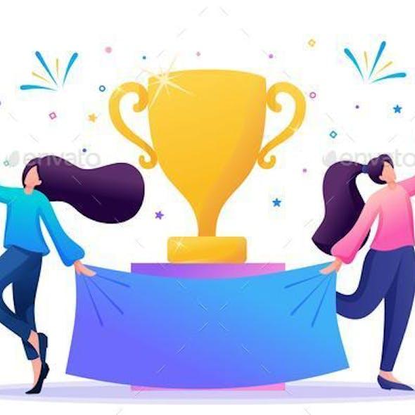 Successful Girls Celebrate the Victory