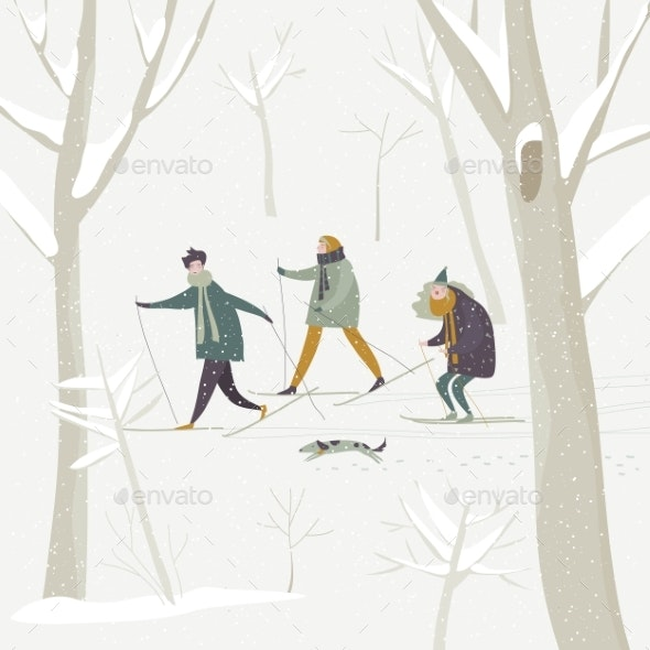 People Skiing in the Winter Snowing Forest - Sports/Activity Conceptual