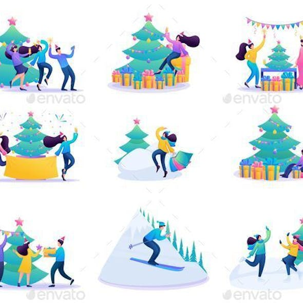 Set 2D Flat Vacationing People Winter Entertainment