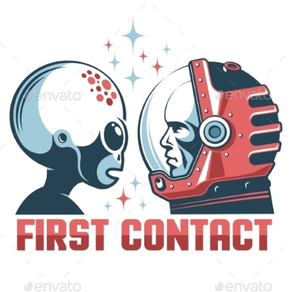 Alien and Astronaut in Space Helmet Face-to-Face