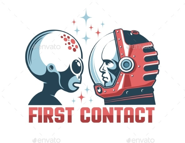 Alien and Astronaut in Space Helmet Face-to-Face - Miscellaneous Characters