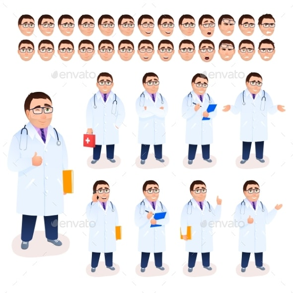 Doctor Male Character Set on White Background - People Characters
