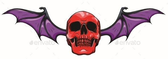 Fanged Skull with Bat Wings Black and White Vector - Miscellaneous Vectors