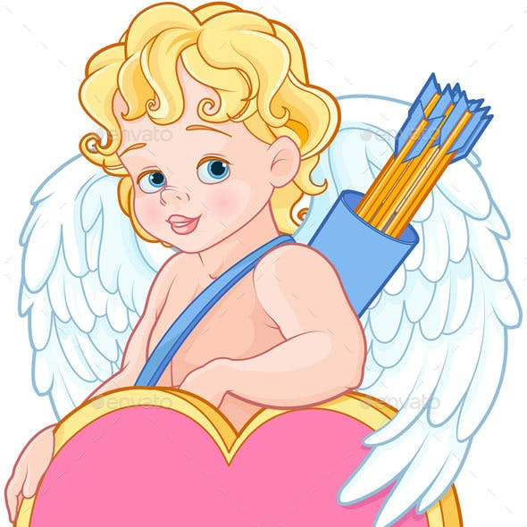 Cupid with Bow and Arrow Holds Heart