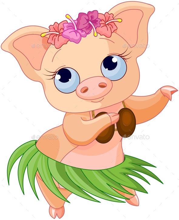 Hula Dancing Pig - Animals Characters