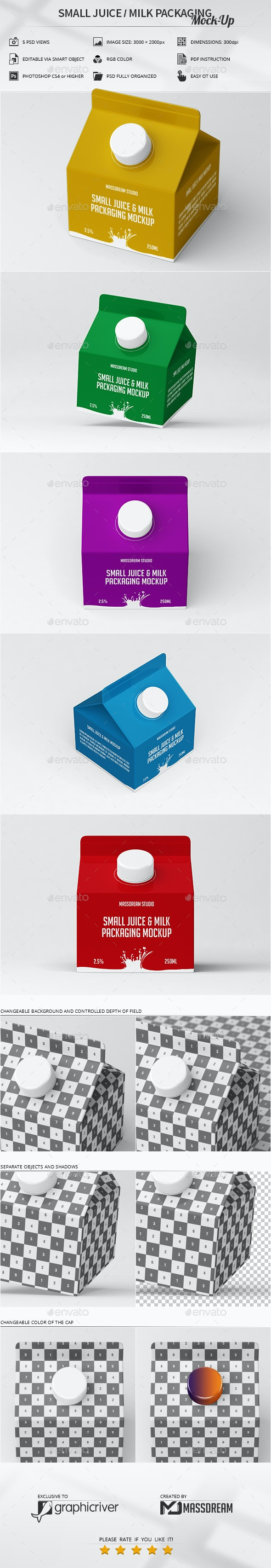 Small Juice / Milk Packaging Mock-Up - Product Mock-Ups Graphics