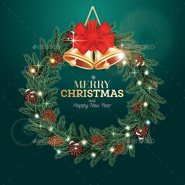 Christmas Wreath with Green Fir Branch - Christmas Seasons/Holidays
