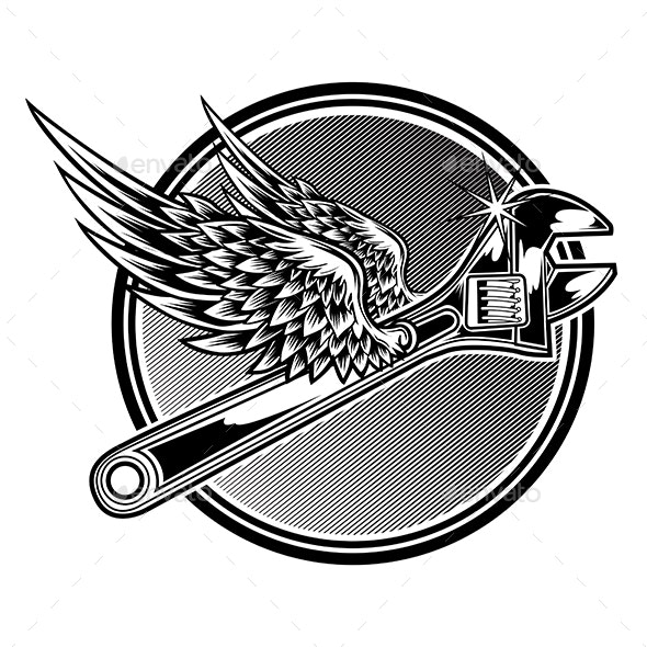 Wrench With Wings - Miscellaneous Vectors