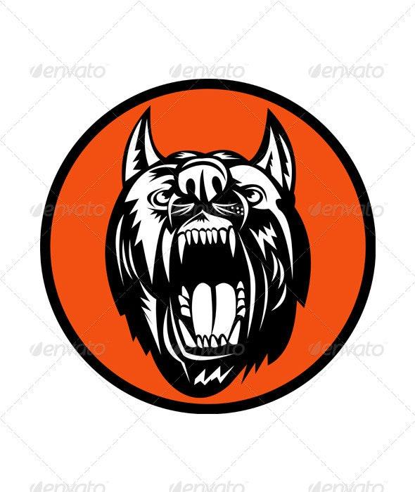 Angry Mongrel Dog Head