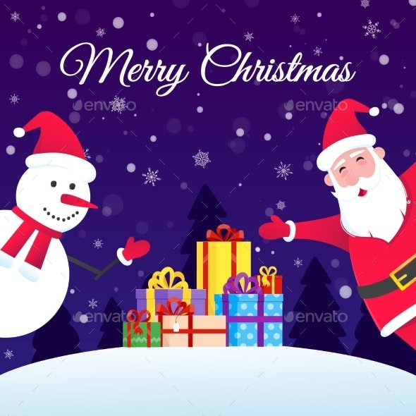 Santa Claus and Snowman Flat Style Design Vector - Christmas Seasons/Holidays