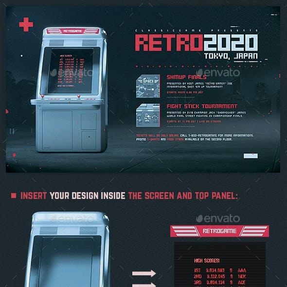 Retro Gaming Flyer Shmups Games Mock Up Template