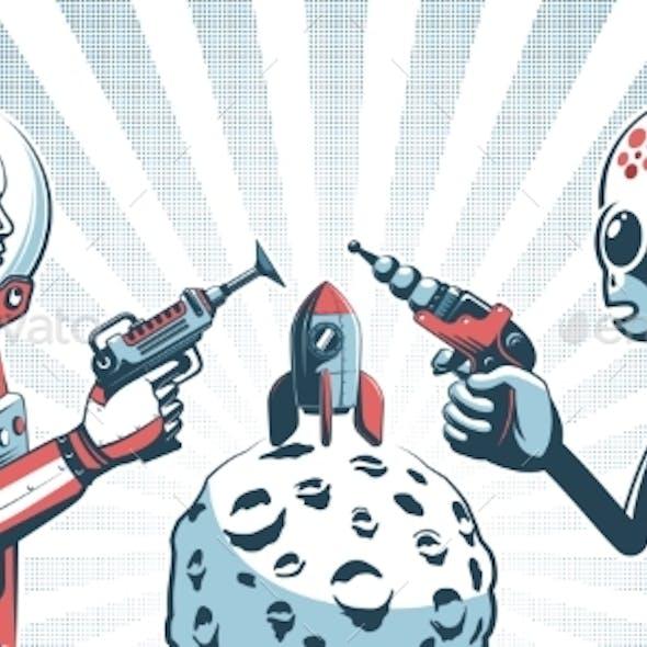 Alien with Blaster Gun Against Astronaut