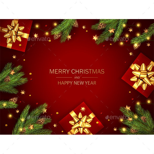 Christmas Gift Boxes with Fir Branches and Golden Stars on Red Background - Christmas Seasons/Holidays
