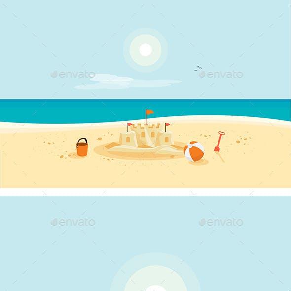 Sand Castle on Sandy Beach