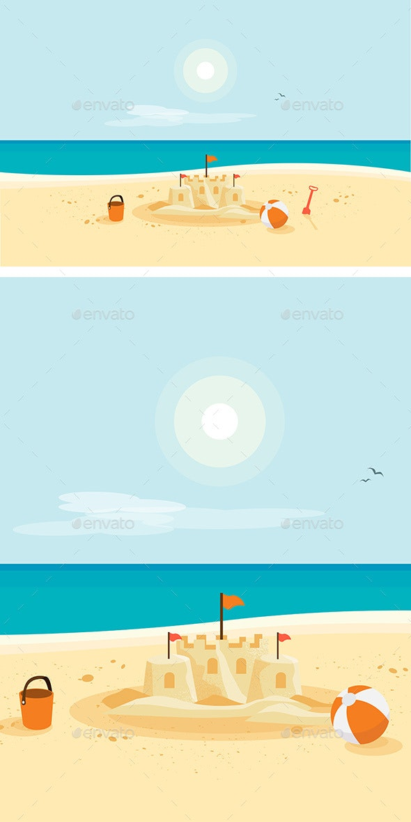 Sand Castle on Sandy Beach - Travel Conceptual