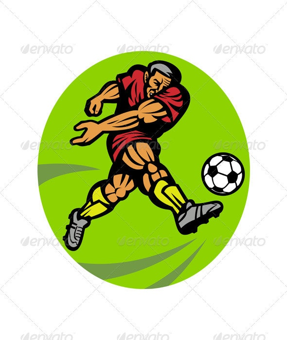 Soccer Player Running Kicking Ball  - People Characters