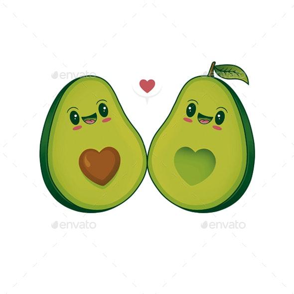 Avocados Love Kawaii Illustration - Food Objects