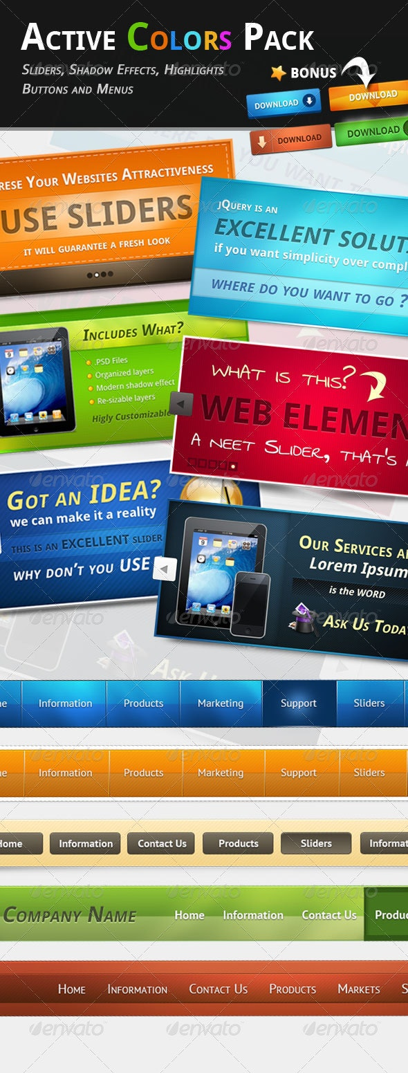 Active Colors Web Pack - Sliders & Features Web Elements