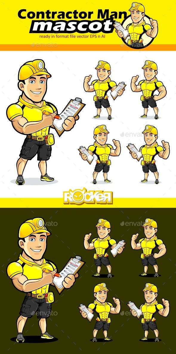 Contractor Man Mascot Character - People Characters