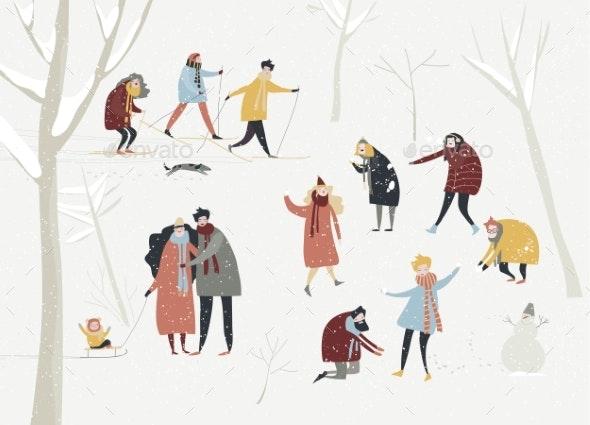 Cartoon Happy People Enjoying in the Winter - People Characters
