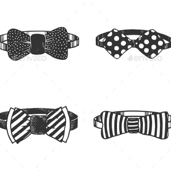 Bow Tie Set Sketch Engraving Vector Illustration