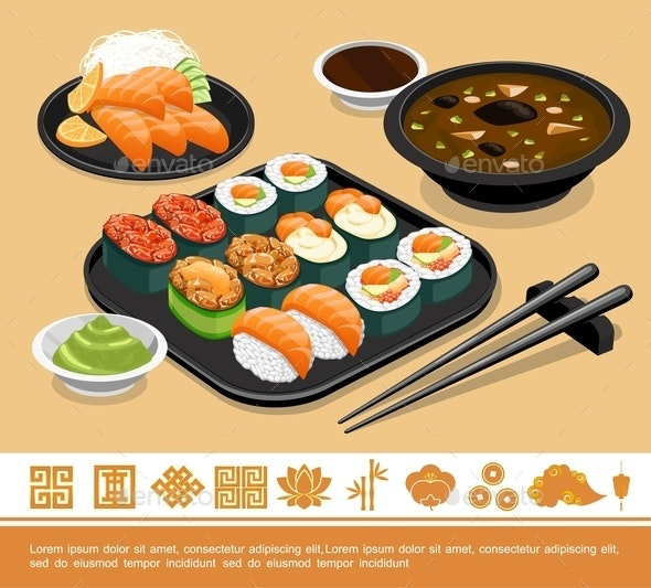 Flat Traditional Japanese Food Template - Food Objects