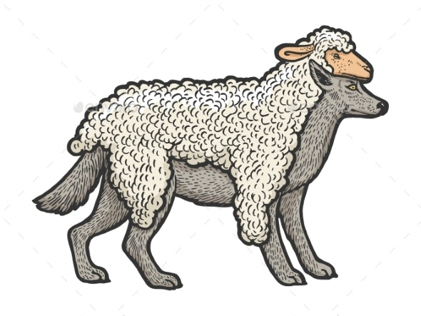 Wolf in Sheeps Clothing Sketch Vector Illustration - Miscellaneous Vectors