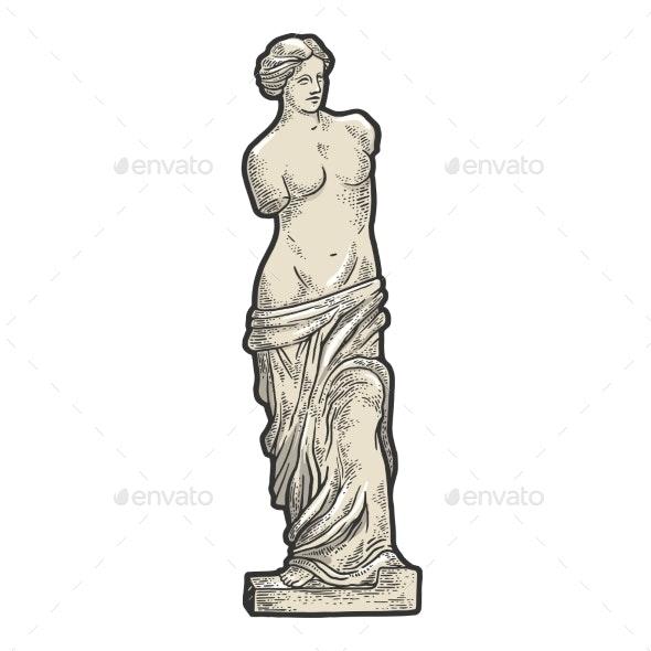 Venus De Milo Sketch Engraving Vector - Miscellaneous Vectors