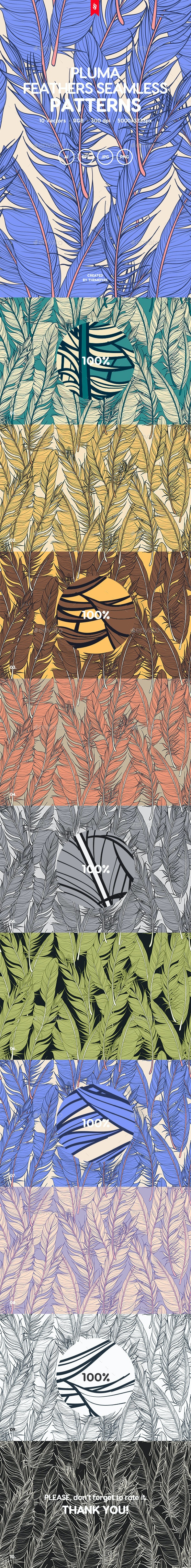 Pluma - Feathers Vector Seamless Patterns - Patterns Backgrounds