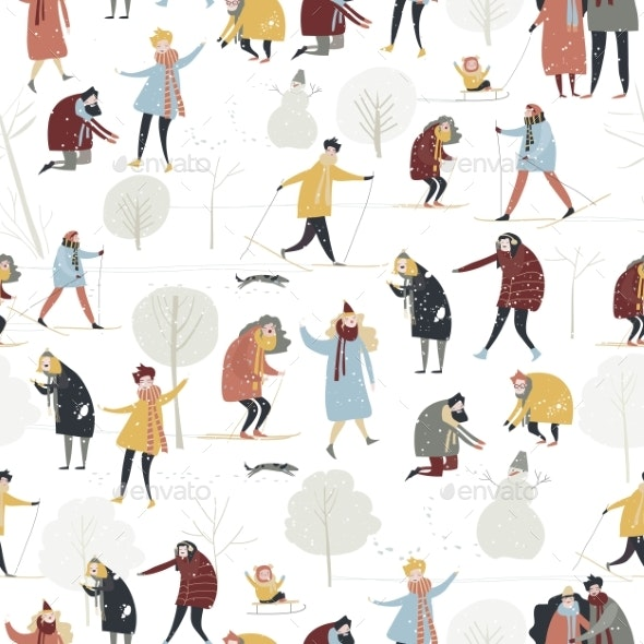 Seamless Vector Pattern with People Enjoying Snow - People Characters