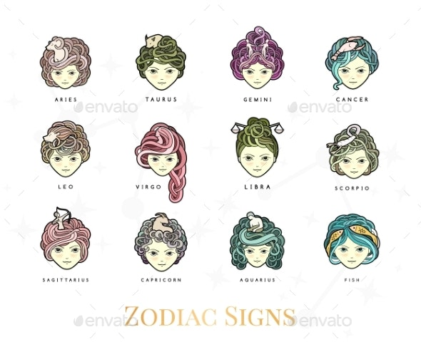 Girls and Zodiac Signs - Miscellaneous Vectors