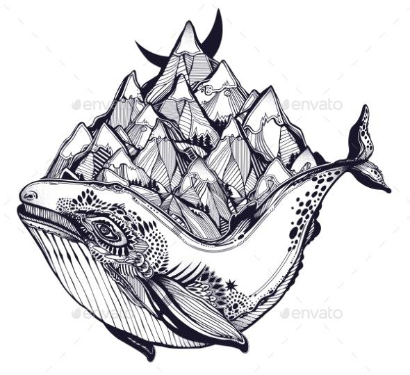 Decorative Dreamy Surreal Whale Sea Animal Beast - Landscapes Nature