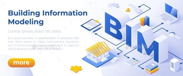 BIM - Isometric Vector Illustration - Computers Technology