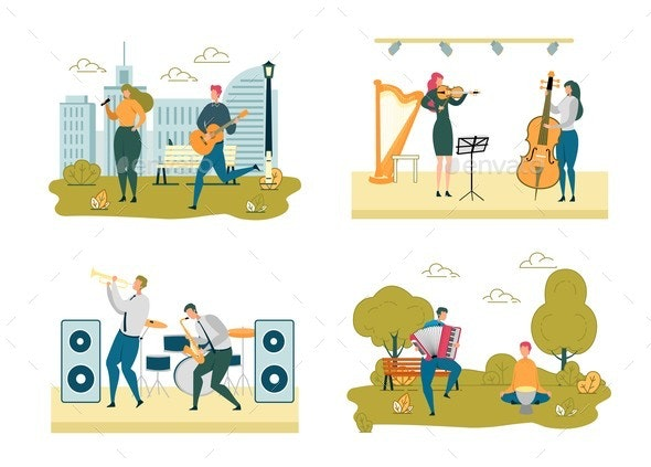 Musicians Street and Stage Performance Scene Set - People Characters