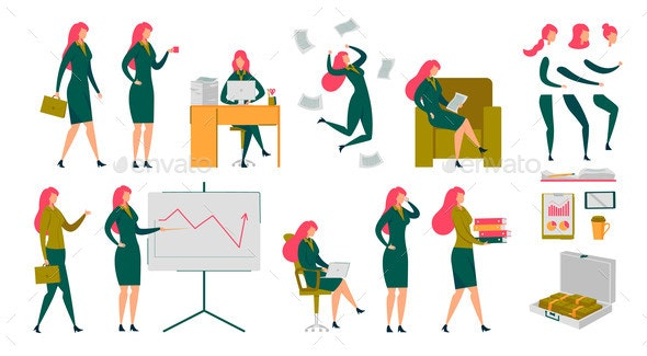 Businesswoman Executive Manager Character Set - Computers Technology