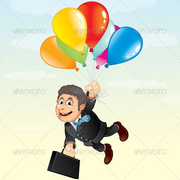 Businessman with Balloons - People Characters