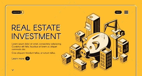 Real Estate Investment Isometric Landing Page - Buildings Objects