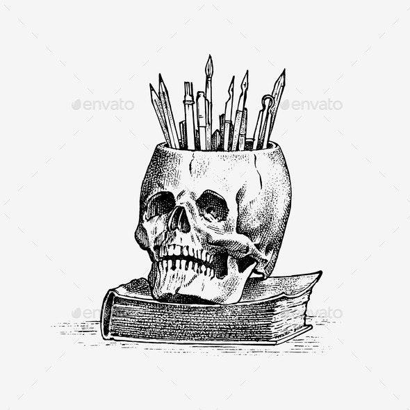 Human Skull with Pencils - Miscellaneous Vectors