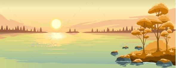 Autumn Landscape with Lake - Landscapes Nature