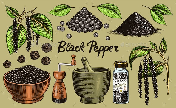 Black Pepper Set in Vintage Style - Food Objects