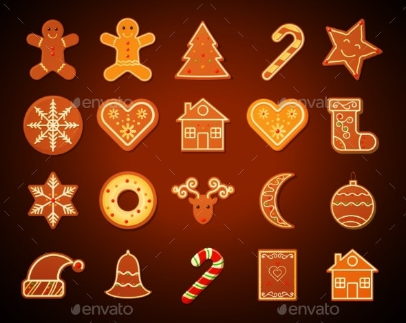 Christmas Gingerbread Cookies Set - Christmas Seasons/Holidays