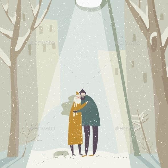 Cartoon Couple in Love Hugging on Snowing Street - People Characters