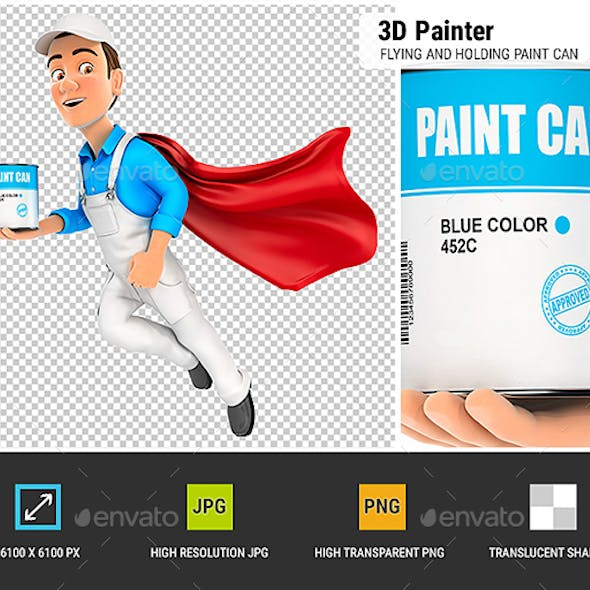 3D Painter Flying and Holding Paint Can