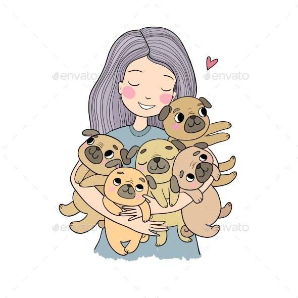 Girl with Pugs