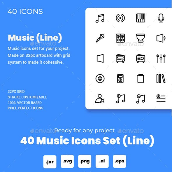Music Icon Set (Line)