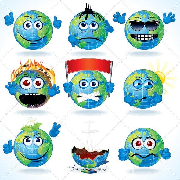 Cartoon Earth - Decorative Symbols Decorative